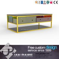 High gloss coffee table / end table with metal frame