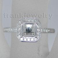 Solid 14Kt White Gold Genuine Diamond&0.32ct Setting Semi Mount Ring Princess Cut 5mm Fine Jewelry WU147