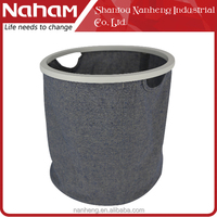 Naham collapsible laundry basket with wooden handle