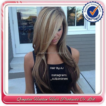 Factory direct high quality hot sexy mix blonde wavy weave brazilian full lace wigs with side bangs