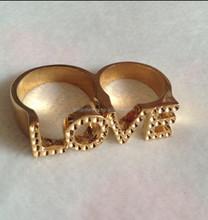 2015 fashion love gold stones ring fashion exotic gold ring adjustable fake gold ring (FNR009)