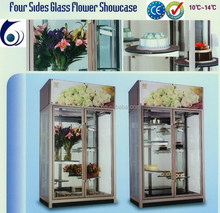 energy-saving fast cooling flower dispaly four side glass showcase