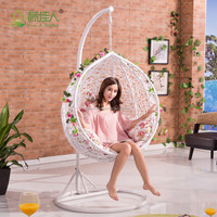 adult kids baby indoor outdoor patio garden living room bedroom rattan wicker hanging egg basket swing chair with metal stand