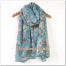 2015 hot fashion birds printed shawl cute floral animal scarf