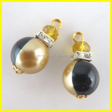 Cute Round Pearl Charms With Glass Crystal Rhinestone For Decoration