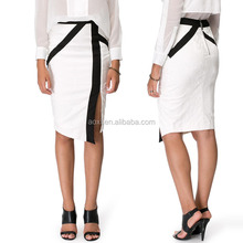 China manufacturing fashion wear split front block combined women pencil skirts formal