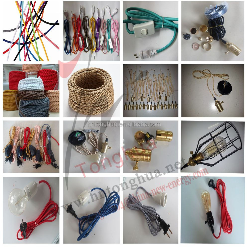 Hemp Rope Electrical Wire Braided Cable Color Cord Electric Cloth Covered Wiring 1