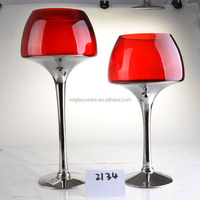 Home decortative red & silver colored candle holder 3 pcs set