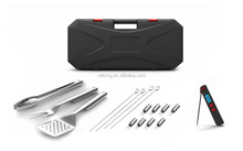 17pcs stainless steel bbq tools set in plastic case with pocket thermometer