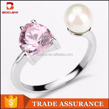 2015 fashion jewelry fine workmanship elegant zircon gemstone and freshwater pearl women silver ring