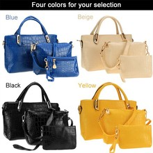 2015 Wholesale Fashion Women Synthetic Leather Satchel Clutch 3PCS Handbags With Purses SV019576