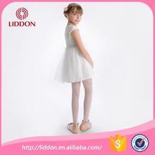Hot mesh style kids girl in white transparent nylon stockings, breathable bonnie girl silky stockings