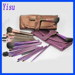 1 Set High Quality 13pcs Purple Brown Cosmetic Makeup Tools Purple Makeup Brush Set Kit + Faux Leather Case Fast delivery