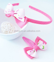 Cute Baby Girls 2 in 1 Set Fashion Hair Accessories Pink Dragonfly Pattern Print Double Bow Headband and Hair Clip