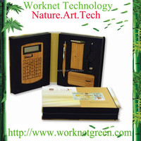 promotional gift bamboo solar calculator bamboo pen bamboo usb hub and flat mouse gift set