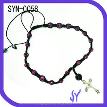 Adjustable Handmade Rosy Crystal Cross Pendant Shamballa Necklace