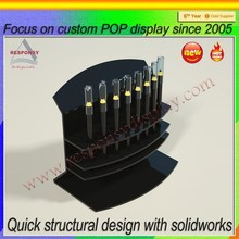 Black Acrylic Counter Shelf Eyebrow Pencil Display Stand For Makeup Stores