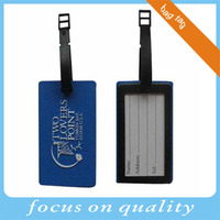 promotional blue with white embossed pvc travel bag tag with text logo