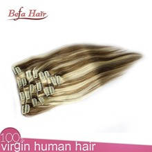 Newest!!!organic hair products/150g remy clip in hair extension/virgin clip in extensions light yaki