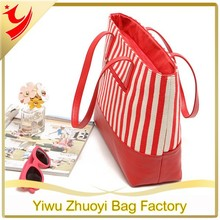 High Quality Red Canvas and PU Strip Print Beach Bags an Tote Bags for Travel