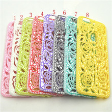 Low price china mobile phone Net Mesh Sculpture Rose Flower Ultra Hard Case Shell Skin Cover For Iphone 6