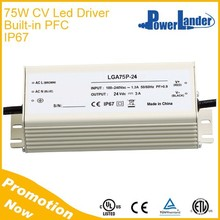 IP67 Grade Constant Voltage 75W 60V Led Driver with Built-in Active PFC