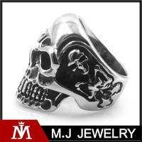 Mens gothic skull stainless steel charm silver finger ring punk skeleton jewelry