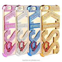 Deluxe Kickstand Rhinestone Diamonds Bumper Frame Case for Apple iPhone 6 with Sexy KISS Red Lip