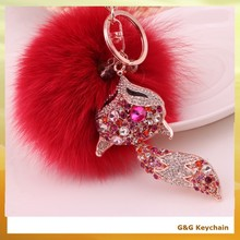 Rhinestone Crystal Fox Fur Ball Shaped Wholesale Keychains RE 055