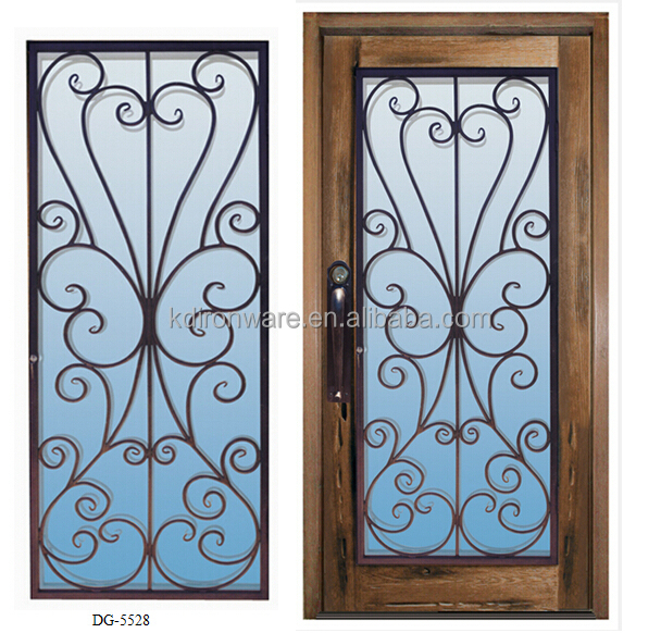Popular decorative wrought iron grill for glass door for Window grill design catalogue 2016
