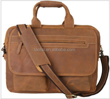 Top quality 100% crazy horse leather bag manufactuer men handbag