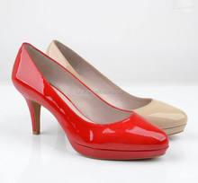 Top fashion patent leather platform shoes middle heel office ladies pump shoes