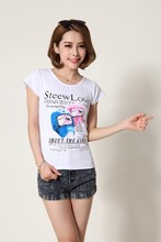 Custom women's Clothes O neck T Shirt Printing Short Sleeve Polyester/Cotton T-shirt Manufacture from China