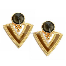Triangle Resin Earrings Jewelry Gold Plated Enamel Stud Earrings For Women Fashion Dangler