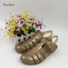 2015 fashion jelly sandals women summer beach shoes flat cheap plastic jelly sandals with glitter