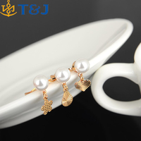 <Wholesale Wedding Party Jewelry Bulk Mixed Pearl Heart Flower Pendant Gold Plated Finger Rings/
