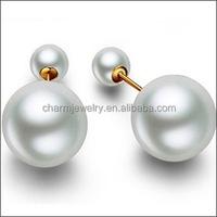 2015 Design Jewelry Women's cheap fake Double Side Shining fashion double Fashion Pearl Earrings for women EP002