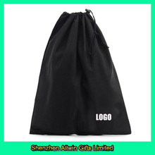 Custom black drawstring cotton bag for shoes