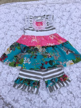 2015newborn baby girls toddler bib designed dress with pants stripe floral ruffles 2pcs green floral outfits clothes sets