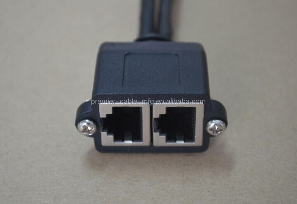 Panel Mount Rj45 Cable Bulkhead Dual Rj45 A Female To Dual
