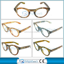 2014 New Trendy Plastic Round Frame Reading Glasses with Vintage pattern(BRP4203)