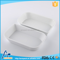 Good quality white microwave oven plastic CPET lunch box without lid