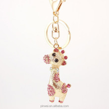 Cute Rhinestone zinc alloy Poodles key chain Fashion personalized car accessories women key rings one piece key fob SK2371
