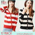 Dc279# los nuevos modelos de explosión hilo vacíos de rayas cardigan suéter de la mujer de la moda al por mayor de primavera