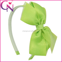 Girls Organza Hot Sale Claw Clip Hair Bows With Bands CNHB-14022014-1W