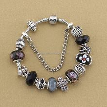 Vintage Jewelry Black Glass Beads Antique Silver Metal Cross Bracelet