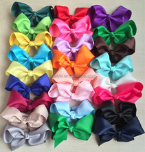 5 inch high quality grosgrain ribbon baby boutique hair bows WITH CLIP for children hair accessories 25pcs/lot