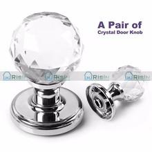 Crystal Glass Door Knobs Handles Internal Mortice Polished Chrome