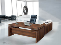 HT-636 L shaped modern high quality wooden table top aluminum feet executive office desk
