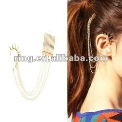 Fashion Gold Spike Gothic Ear Cuff Hair Comb Chains Band Headbands Earring